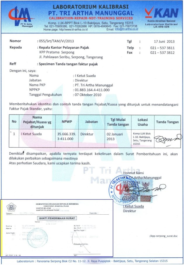 Specimen Signature of the Tax Invoice